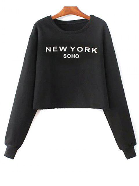 ladies Letter Print Round Neck Sweatshirt - BLACK ONE SIZE Mobile