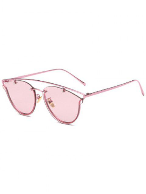 Transparent Lens Crossbar papillon Lunettes de soleil - Rose   Mobile