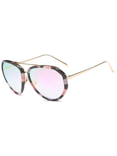 women's Oversized Flower Mirrored Sunglasses - BLACK  Mobile