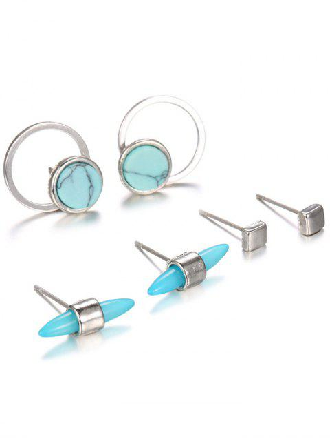 new Faux Rammel Round Square Alloy Earrings - SILVER  Mobile