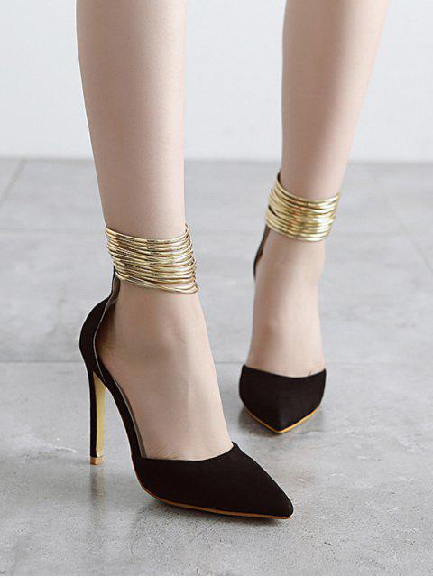shops Pointed Toe Metallic Stiletto Heel Pumps - BLACK 38 Mobile