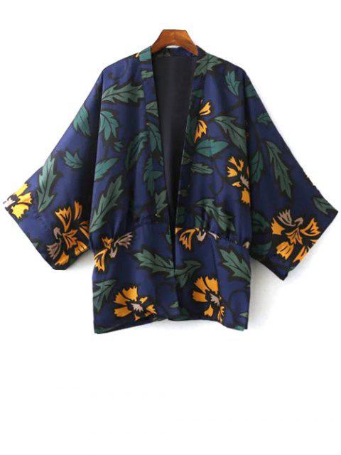 fancy Printed Kimono - BLUE S Mobile