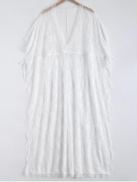 online High Slit Plunging Neck Lace Maxi Cover Up - WHITE ONE SIZE Mobile