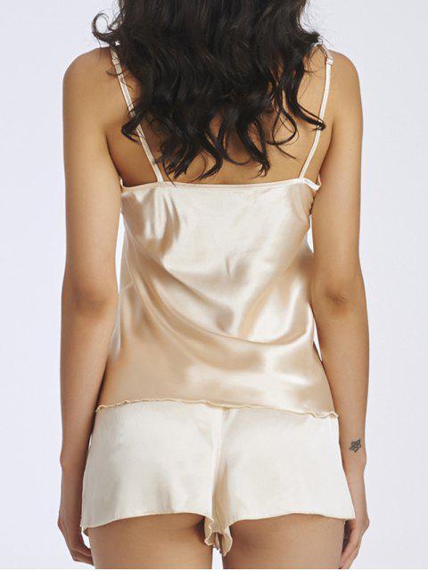 women Lace Panel Spaghetti Strap Sleepwear - APRICOT S Mobile