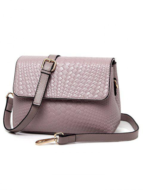 new Woven PU Leather Crossbody Bag - PINK  Mobile