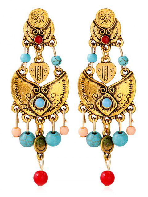 outfit Alloy Engraved Beaded Earrings - GOLDEN  Mobile