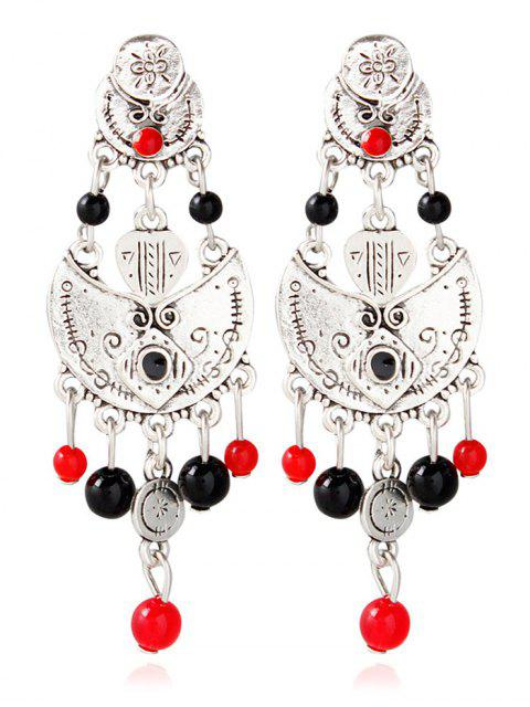 outfits Alloy Engraved Beaded Earrings - SILVER  Mobile