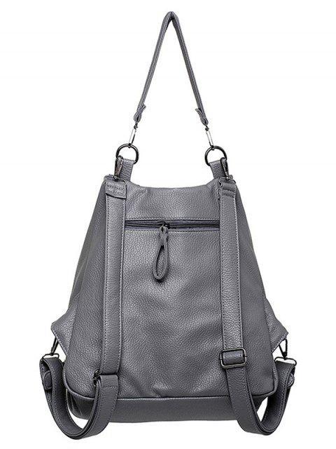 new Buckles Zip Rivet Backpack - GRAY  Mobile