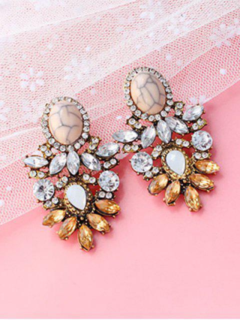 Faux cristal strass alliage ovale Boucles d'oreilles - Brun  Mobile