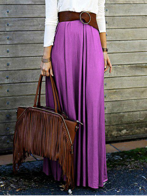 lady Purple High Waisted Long Skirt - PURPLE L Mobile