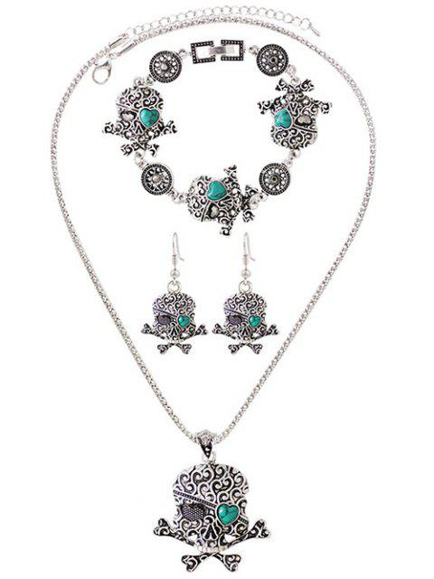 trendy Faux Turquoise Skull Heart Jewelry Set - SILVER  Mobile