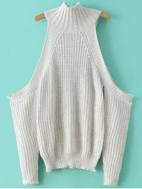 shops Stand Neck Cold Shoulder Sweater - WHITE ONE SIZE Mobile