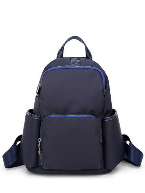 women's Casual PU Spliced Nylon Backpack - BLUE  Mobile