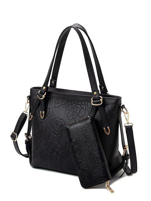 best Flower Pattern Embossing Metal Shoulder Bag - BLACK  Mobile