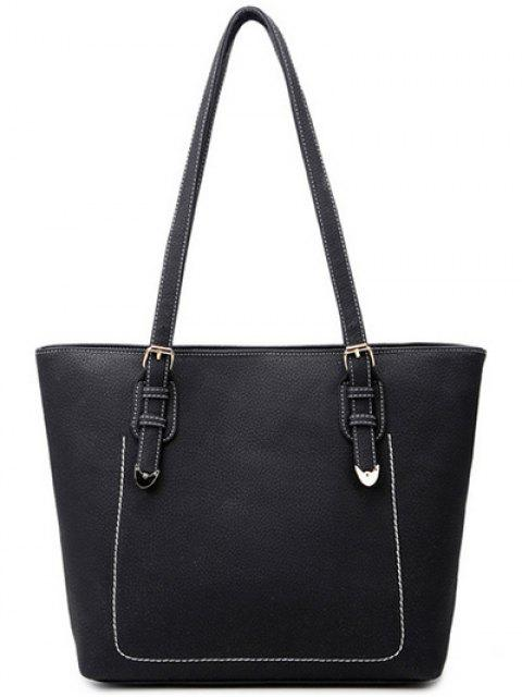 shop Stitching Buckles Textured PU Shoulder Bag - BLACK  Mobile