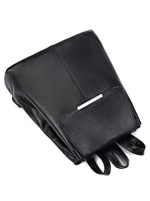 fashion Drawstring Magnetic Closure Metal Backpack - BLACK  Mobile