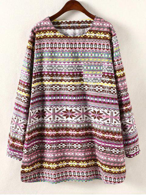 lady Plus Size Long Sleeve Dress - YELLOW 4XL Mobile