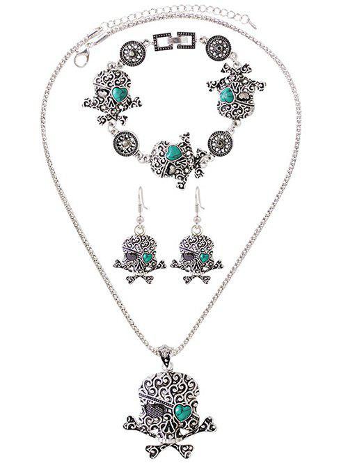 Bijoux forme cœur crâne de turquoise fausse