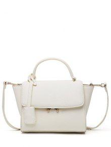 Light Color PU Leather Metal Crossbody Bag - Off-white