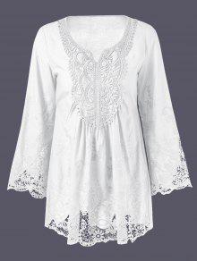 Buy Lace Trim Tunic Blouse - WHITE 2XL