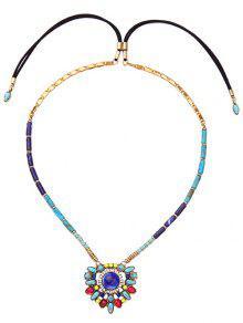 Buy Artificial Gem Flower Necklace - COLORMIX
