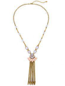 Buy Rhinestone Chain Fringe Necklace - GOLDEN
