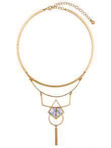 Artificial Stone Geometric Necklace - Golden