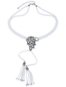 Buy Faux Pearl Tassel Necklace - WHITE