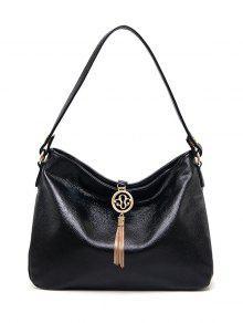 PU Leather Tassel Pendant Shoulder Bag - Black