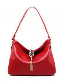 بو حقيبة جلدية الكتف الشرابة قلادة - أحمر