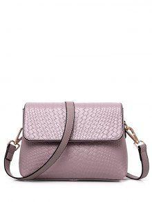 Woven PU Leather Crossbody Bag - Pink