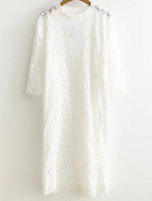 Vestido De Cambio Raja Del Lado Del Cordón - Blanco