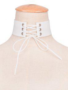 Faux Leather Velvet Bows Choker - White