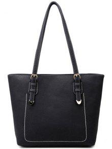 Stitching Buckles Textured PU Shoulder Bag - Black