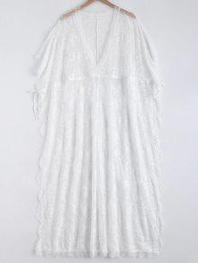 High Slit Plunging Neck Lace Maxi Cover Up - White
