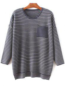 Striped Drop Shoulder Sleeve Sweater - Purplish Blue
