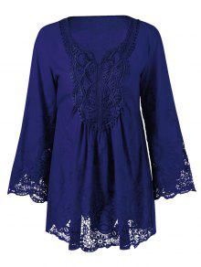 Buy Lace Trim Tunic Blouse - DEEP BLUE 2XL