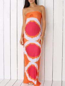 طويل نمط هندسي أنبوب فستان ماكسي - البرتقالي S