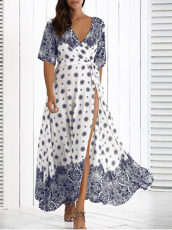 Robe maxi bohémien à col V avec des manches mi-longues - Blanc TAILLE MOYENNE