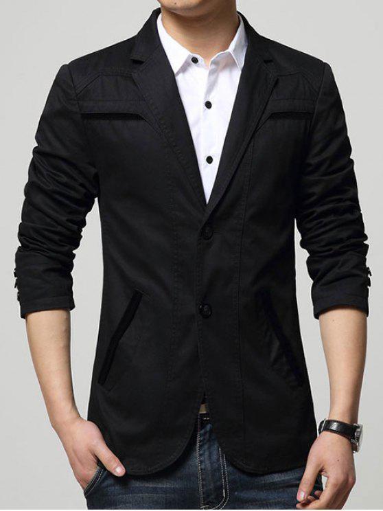 Slim Fit Reverskragen Seam Taschen Spliced Blazer - Schwarz 2XL