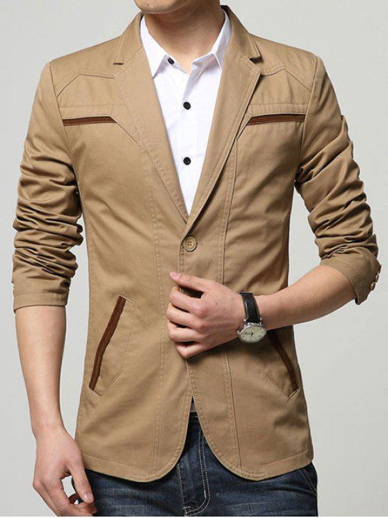 Slim Fit Reverskragen Seam Taschen Spliced ​​Blazer - Khaki 4XL