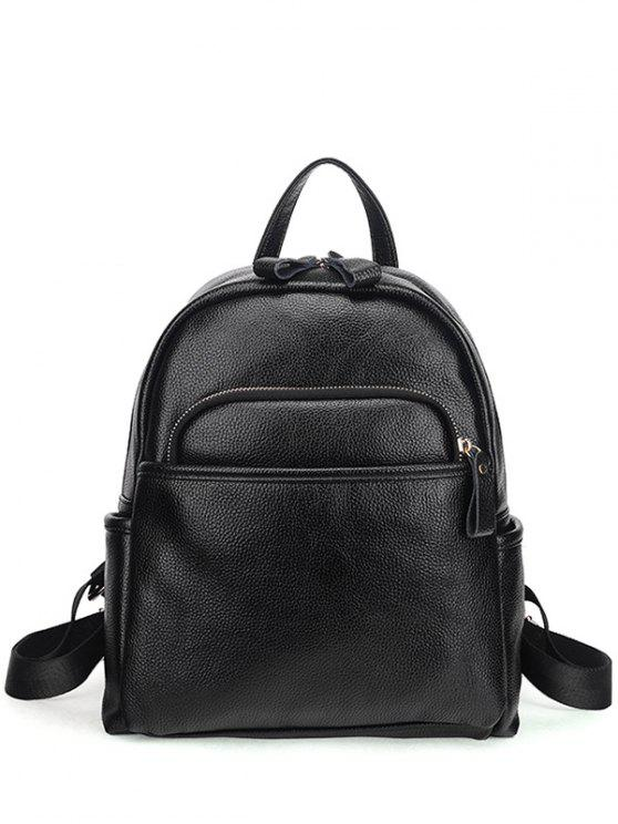 outfit Zips Textured PU Backpack - BLACK