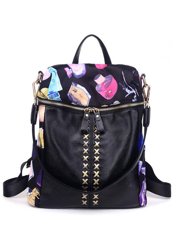 outfits Cross Splicing Print Backpack - BLACK