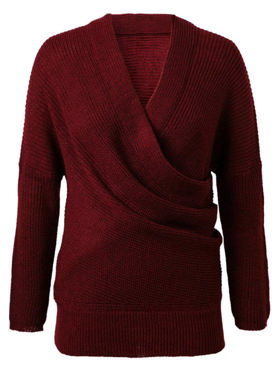 ladies Crossover Sweater - WINE RED ONE SIZE