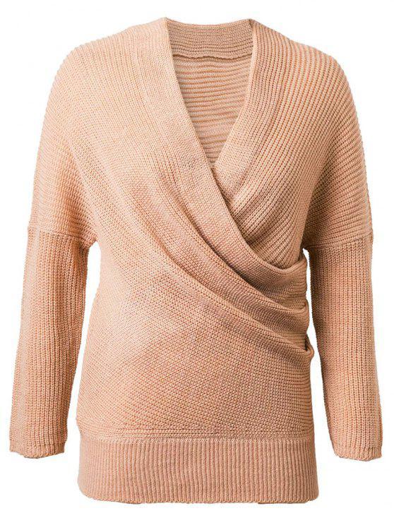 hot Crossover Sweater - KHAKI ONE SIZE