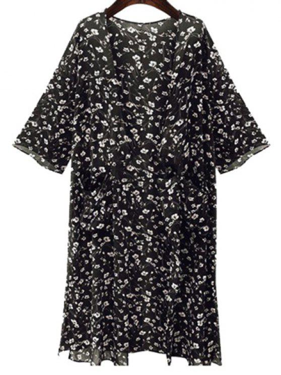 outfits Tiny Floral Print 3/4 Sleeve Kimono - BLACK L