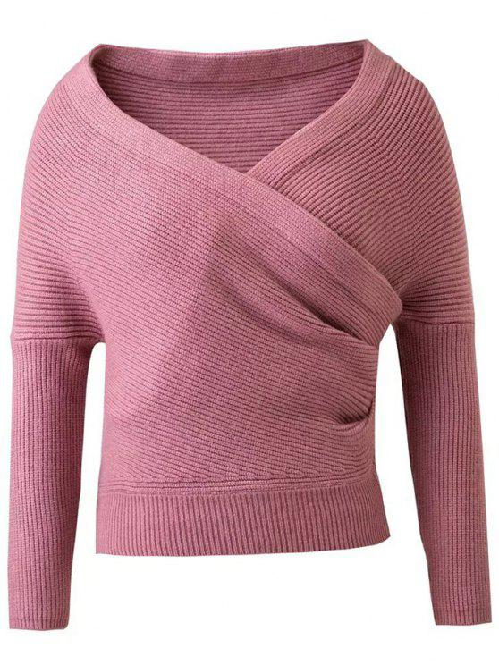 outfits Crossover Cropped Sweater - PINK M