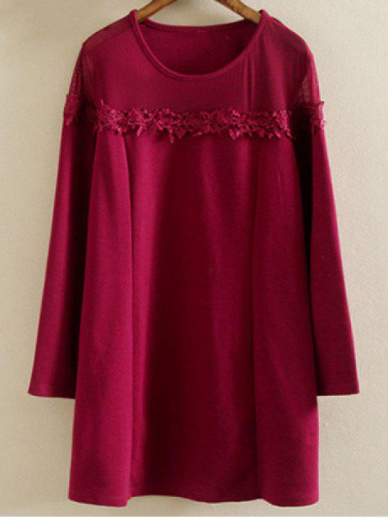 women Plus Size Tunic Dress - WINE RED 2XL