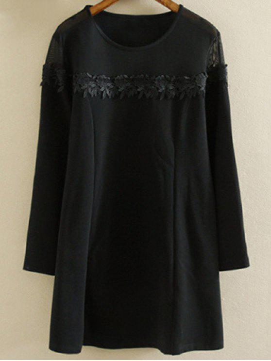 lady Plus Size Tunic Dress - BLACK 2XL
