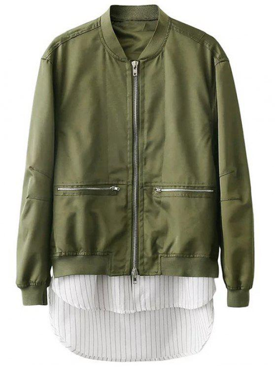trendy Zipped Layered Hem Jacket - GREEN L